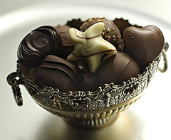 Godiva Chocolats2 (fhansenphoto) Tags: 2 food set silver dark milk chocolates bowl sweets godiva