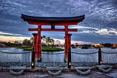 Nippon (EPCOT) (Revo_1599) Tags: sunset japan night orlando epcot cloudy disney nippon torii hdr 3xp fdrtools