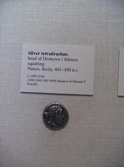 Silver Tetradrachm: Head of Dionysos (peterjr1961) Tags: nyc newyorkcity newyork art museum silver greek coin coins met themet metropolitanmuseumofart dionysos tetradrachm