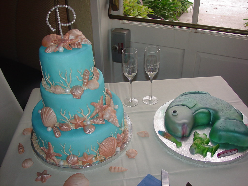 Nautical seashell wedding cake charley.salas@sbcglobal.net