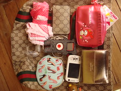 what's in my bag 2 (Pink Pinkle) Tags: bag ipod wallet hellokitty nintendo o2 gucci pouch nano handphone nds mymelody katespade dslite annamatic
