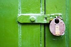 Green pad. (Ian McWilliams.) Tags: door green peace security strength padlock locked