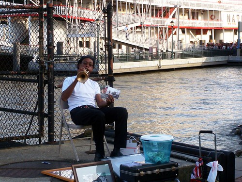 Trumpet player on the River