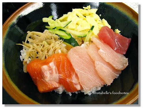梭子生魚片丼