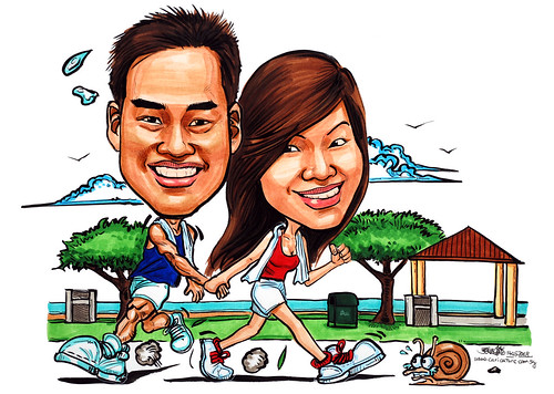 Couple caricatures jogging at East Coast Park
