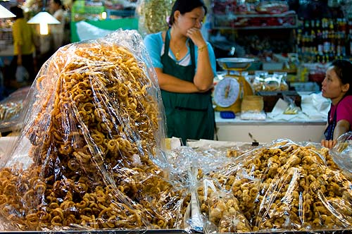 Deep-fried pork rinds for sale at Talaat Ton Phayom, Chiang Mai, Thailand