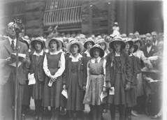 Uniformed Sydney Girl's High School girls singing near 2GB microphone, 1930s / Sam Hood