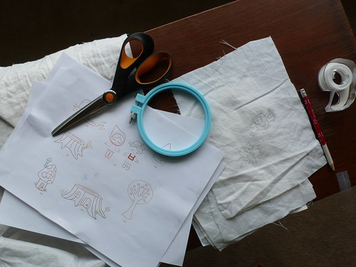 Setting up for embroidering