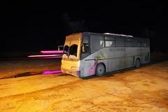 Desert Line (Jungle C) Tags: light bus night sand highway desert egypt siwa
