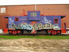 The Magical Caboose (Seetwist) Tags: railroad art train canon bench graffiti colorado paint grafitti trains denver caboose spraypaint boxcar graffito graff piece aerosol railfan freight trainspotting freights trainart fr8 rxr railart benching trainspot boxcarart sd900 denvertrainart seetwist freightart seetwistproductions