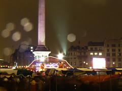(perpetually dishevelled) Tags: england london night lights trafalgarsquare rainy raindrops nelsonscolumn happydiwali