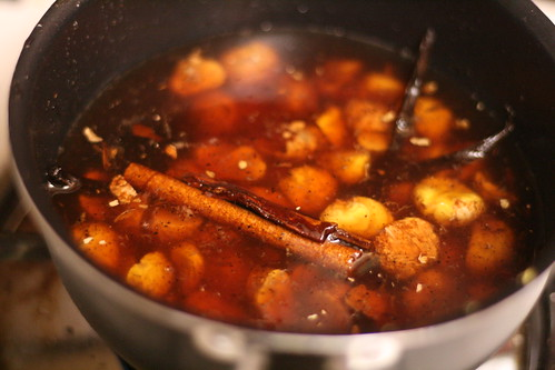 Chestnuts mulling in the spiced port