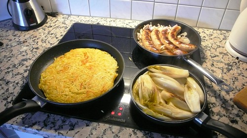 Cooking Rösti, Calf Sausages and Chicory