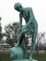 After taking a bath. (AFIK  BERLIN) Tags: boy sculpture feet stone copenhagen denmark skulptur dry towel bathing dnemark danmark kopenhagen langelinie