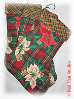 """NEW SALE PRICE!!!</p>Family Pack of 3 Red</p>""""Poinsettias and Plaid""""</p>Christmas Stockings"""