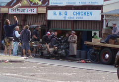 Director and crew outside The Fruit Shed, Rathdowne Street