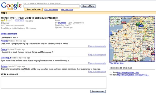 Google My Maps Comment Page