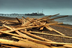 """Ice Prince"" timber on Brighton Beach (Erasmus T) Tags: 2001 beach pier brighton timber hdr photomatix iceprince"