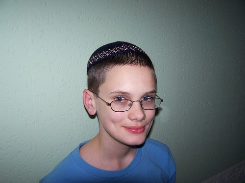 Dominic wearing his Kippah