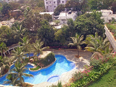 Pool view from my room in the Kakatiya, Hyderabad