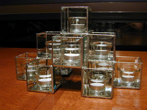 beveled glass candle holder