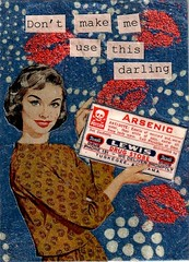Warning! (HA! Designs - Artbyheather) Tags: blue woman atc fun kiss funky retro card poison arsenic hadesigns artbyheather
