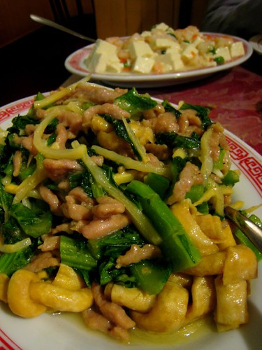 Shredded Pork with Mustard Greens, Bamboo Shoot, and Tofu Knot