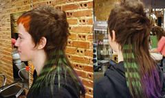 hair dye stripes (wip-hairport) Tags: new red haircut color green hair long lisboa lisbon stripes short dye haircolor dyedhair hairport