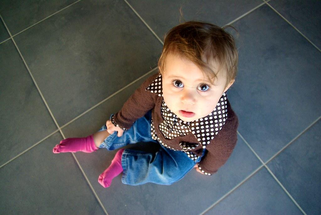 Anaïs on a tiled floor