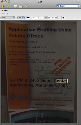 DTrace Event Poster in Evernote