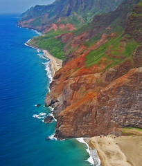 Na Pali by air (Walt K) Tags: statepark orange green hawaii coast tour helicopter kauai napali bluehawaiian waltk