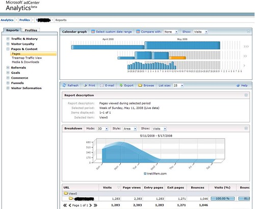 MS adCenter Analytics - Main report view