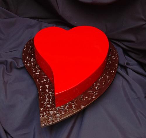 Heart Engagement cake