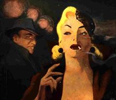 Shadow Girl (hagerstenguy) Tags: shadow woman man girl mystery illustration night shadows cigarette blond agent