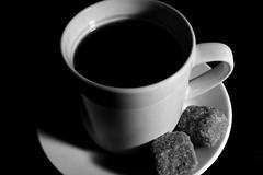 Black Coffee (orangeade317) Tags: black white bw coffee cup sugar shadow espresso nikon d5200 nikkor40mm lens macro