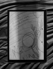 """Prompter Book """"Lost and Found"""": The refugee Yousef: """"I can`t sleep more than 2 hours"""" """"Ich kann nicht schlafen länger als 2 Stunden"""" (hedbavny) Tags: theatre theater work arbeit probe rehearsal künstler artist kopf head eule owl mond moon vogel bird wood forest wald pfeife balloon lampion ballon holz textur flüchtling interview wien vienna austria österreich hedbavny drawing zeichnung wasser water weis white grau grey black schwarz müde müdigkeit tired sleep schlaf schlaflosigkeit nachtarbeit nacht night bett bed schatten shadow sonne sun portrait porträt mann man lost found falten laken betttuch leintuch kimono morgenmantel dream traum albtraum meer ozean"""