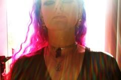 Rainbow Shower (wisely-chosen) Tags: selfportrait rainbow may lensflare sunrays pinkhair bluehair 2009 picnik sunbeams lavenderhair adobephotoshopcs4 manicpanicredpassion manicpanicultraviolet manicpanicbadboyblue manicpanicshockingblue manicpaniclielocks manicpanicelectricbanana