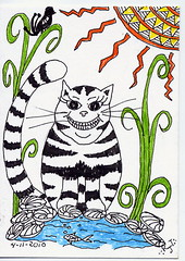 Lori's Kitty ~ATC~ For Cardhappy (Rose Twofeather) Tags: atc zentangle zendoodle