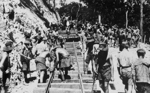 American POWs laying track on the Burma-Siam railway (Australian War Memorial)