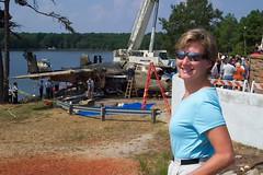 Karen watching WWII B-25 recovery on Lake Murray (V-rider) Tags: museum tokyo underwater crashed decay wwii jimmy karen restore mitchell bomber decayed recovery raiders raising b25 doolittle crashlanding lakemurray rhm b25bomber b25mitchell doolittleraiders vrider edarmstrong bombisland lunchisland