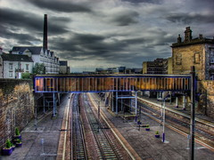 Gray morning (v a n g e l i s) Tags: scotland edinburgh dramatic railwaystation rails haymarket hdr photomatix chiminey vob mywinners platinumphoto superbmasterpiece haymarketrailwaystation