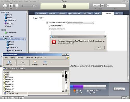 iTunes non sincronizza Outlook Express