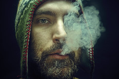 There was thunder, there was lightning, then the stars went out (013/365) (wiseacre photo) Tags: portrait man black face hat beard interestingness smoke pipe whiskerino smoking day13 tough soe cacontest