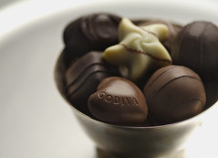 Godiva Chocolates3 (fhansenphoto) Tags: 2 food set silver dark milk chocolates bowl sweets godiva