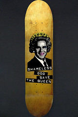 God Save the Queen (Iain Burke) Tags: wood digital georgebush politics satire humor makeup queen halftone deck skateboard iain shameless shockvalue iainburke octopocalypse iainvandoucheberg vandoucheberg