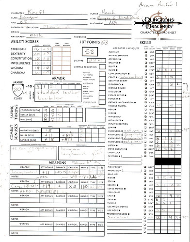 D&D Character Sheet: Kreft, Elf Archer, page 1