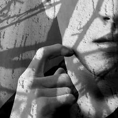 Slowly Fading... (kiran) Tags: blackandwhite bw selfportrait self blackwhite shadows autoportrait bn ombre autoritratto fading biancoenero blancetnoir selbstbildnis slowlyfading schwarzundweis