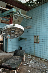Operating theatre (keroleen73) Tags: blue urban berlin abandoned lamp hospital germany deutschland decay demolition tiles op clinic sanatorium derelict allemagne brandenburg krankenhaus dereliction trashed leuchte institution klinik operatingtheatre vanishingbeauty operatingtheater beelitzheilsttten operationssaal beelitz oldhospital heilsttten heilstaetten beelitzheilstaetten silenthalls