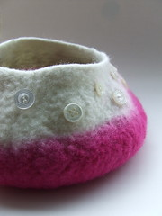 Raspberry Ripple Button Bowl (fibrespace) Tags: uk wool felted handmade vessel merino bowl