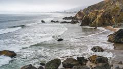 The Pacific (Fret Spider) Tags: pacific ocean sea california sanfransisco highway1 shore water fog clouds beach cliff rock leicaaposummicron50mmf20asph sonya7rii polarizer circularpolarizer filter